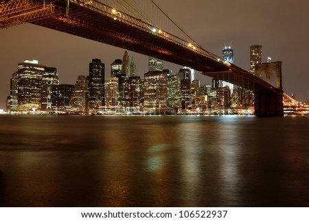 View of Brooklyn Bridge and Downtown Manhattan across the east river