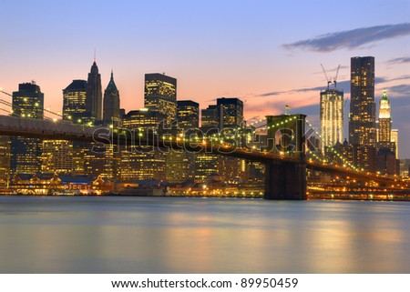 View of Brooklyn Bridge and Downtown Manhattan from across the East RIver.