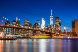 View of Brooklyn Bridge and Lower Manhattan at blue hour from Brooklyn | New York City, NY, USA