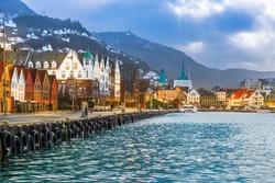 View of Bryggen historic harbour district in Bergen Norway.