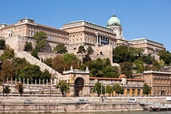 view of buda castle in budapest from danube river