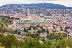 View of Buda Castle Royal Palace on the southern tip of Castle Hill int the Buda side of Budapest, Hungary. A UNESCO World Heritage Site.