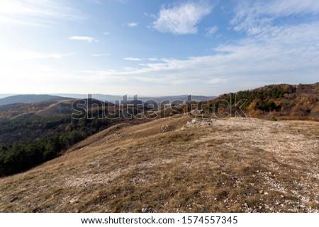 View of Buda mountains (Farkas-hegy) near Budaörs, Hungary on a sunny autumn day. Stock fotó ©