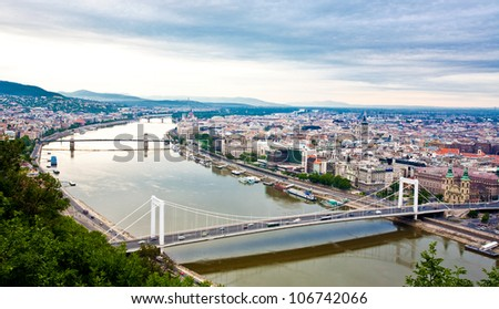 View of Budapest and the river Danube from the Citadella, Hungary