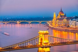 View of Budapest at sunset, Hungary