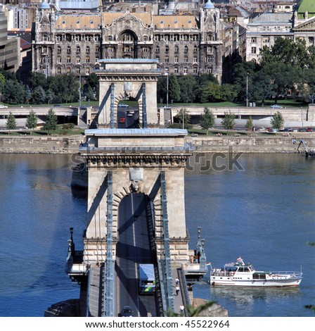 View of Budapest (capital of Hungary, Central Europe) from the castle hill with River Danube and Lanchid (Chain bridge). Lanchid is the first and most famous bridge in Budapest.