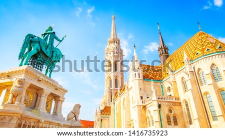 View of Budapest old town, Buda catle and Saint Matthias Church #1416735923