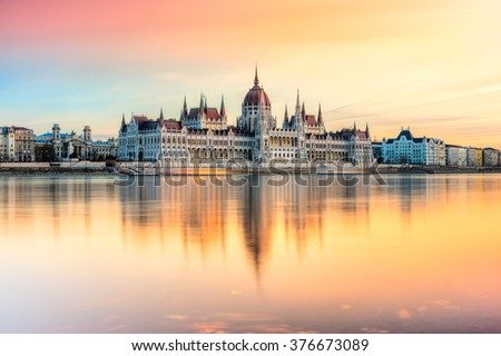 Stock Photo View of Budapest parliament at sunset, Hungary