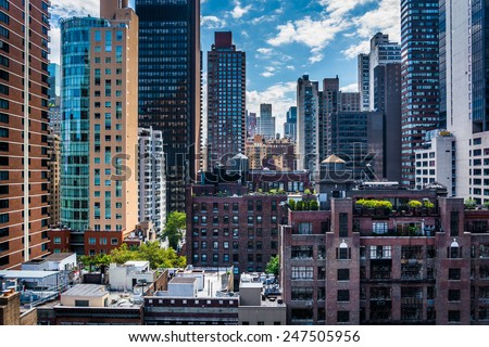 View of buildings in the Turtle Bay neighborhood, from a rooftop on 51st Street in Midtown Manhattan, New York. #247505956