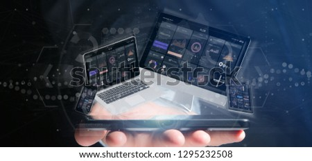 View of Businessman holding Devices connected to a cloud multimedia network 3d rendering #1295232508