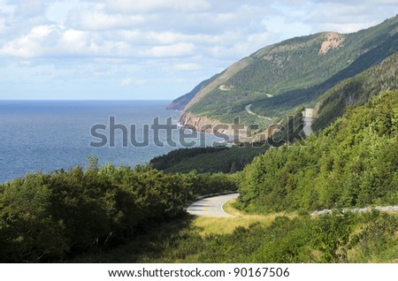 View of Cabot Trail from boat Cape Breton Island Nova Scotia Canada