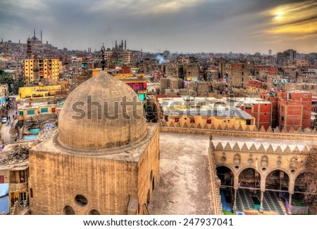 View of Cairo from roof of Amir al-Maridani mosque Egypt