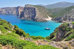 View of Cala Domestica beach, town of Buggerru, Sardinia, Italy