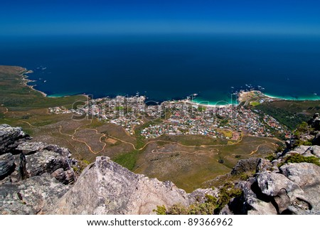 View of Camps Bay from Table Mountain, South Africa - stock photo