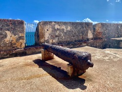 View of cannon at Castillo San Felipe del Morro, also known as El Morro in Old San Juan Puerto Rico