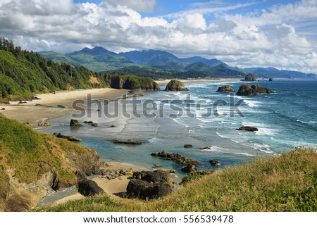 View of Cannon Beach and Indian beach in Ecola State park Oregon - Shutterstock ID 556539478