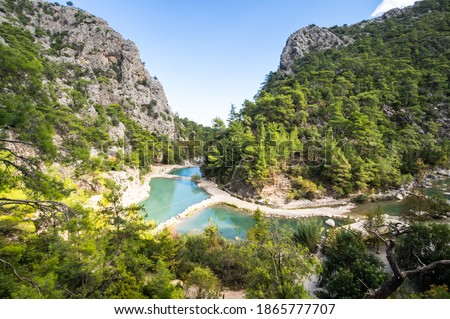 View of canyon Goynuk, located inside the Beydaglari Coastal National Park, Kemer district in Antalya Province, Turkey Stok fotoğraf ©