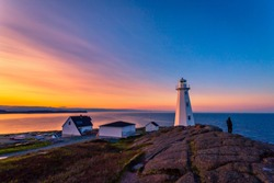 View of Cape Spear Lighthouse at Newfoundland, Canada, during sunset