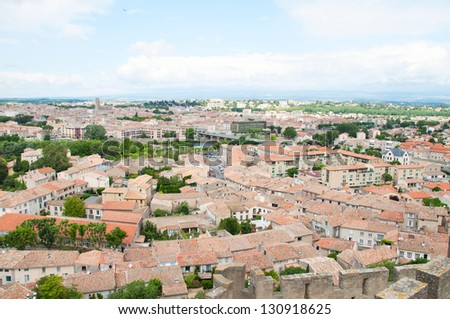 View of Carcassonne town from Carcassonne castle