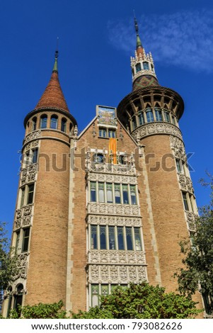 Shutterstock View of Casa de les Punxes (Casa Terradas) - building reminiscent of old medieval castle, with elements of different architectural trends, with six pointed towers. Avinguda Diagonal, Barcelona, Spain