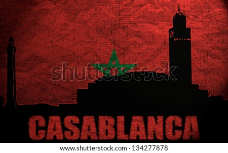 View of Casablanca on the Grunge Moroccan Flag