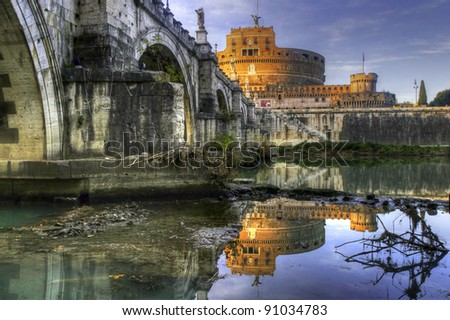 View of Castel Sant'Angelo and of its bridge at sunset, Rome, Italy