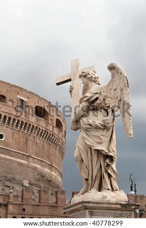 View of Castel Sant`Angelo and one of Bernini`s statue (Angel with the Cross) in Rome