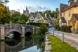 View of Castle Combe, a village and civil parish within the Cotswolds Area of Natural Beauty in Wiltshire, England