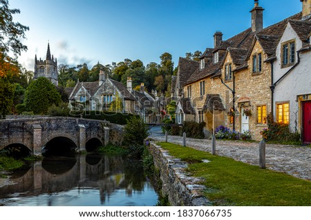 View of Castle Combe, a village and civil parish within the Cotswolds Area of Natural Beauty in Wiltshire, England Stock photo ©