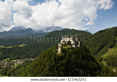 View of Castle Hohenwerfen near Salzburg in Austria