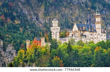View of castle Neuschwanstein with a rock in background