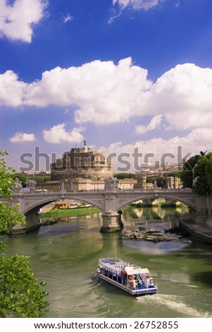 View of castle Saint Angel and bridge Vittorio Emmanuel in Rome
