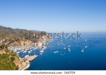 View of Catalina island with boats