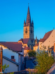 View of Cathedral from streets of Sibiu in Romania.