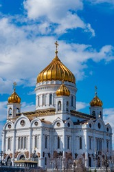 view of Cathedral of Christ the Savior in Moscow, Russia.