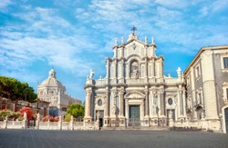 View of Cathedral Sant Agata  on Piazza del Duomo in Catania. Sicily. Italy