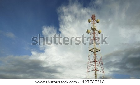 view of Cellular Signal Tower with dark clouds moving background #1127767316