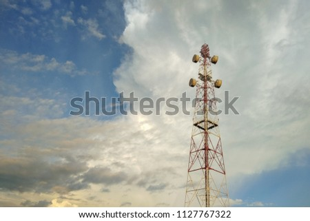 view of Cellular Signal Tower with dark clouds moving background #1127767322