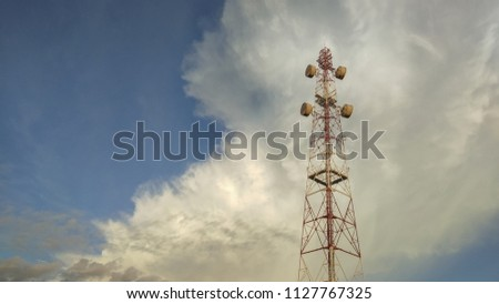 view of Cellular Signal Tower with dark clouds moving background #1127767325