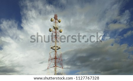 view of Cellular Signal Tower with dark clouds moving background #1127767328