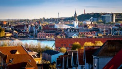View of central Aalborg and waterfront from Nørre Sundby