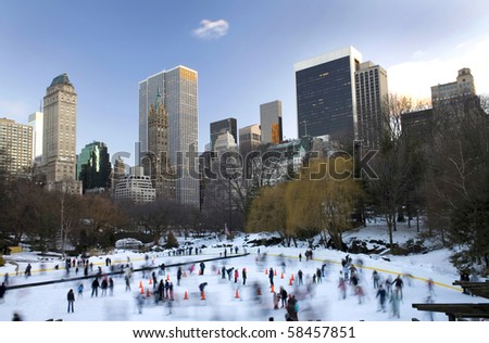 View of Central Park in front of Wollman rink with Manhattan buildings in rear view.  Taken winter, 2010.