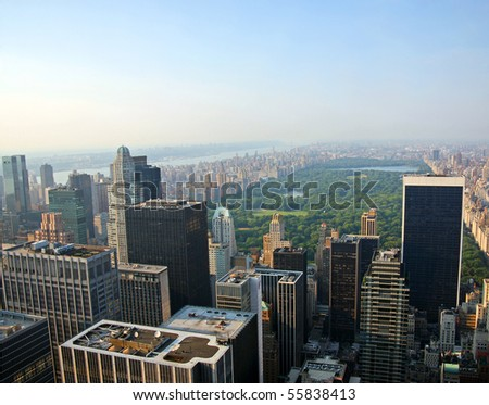 View of Central Park in New York City on a hazy summer day