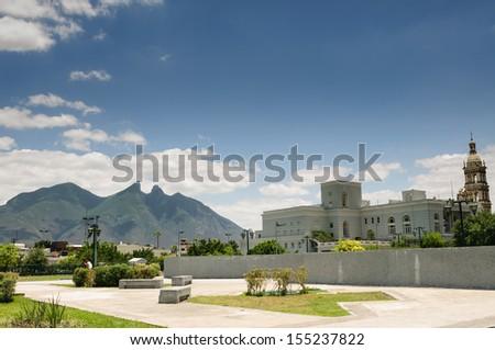 Shutterstock View of Cerro de la Silla mountain from Macroplaza in Monterrey, Nuevo Leon, Mexico