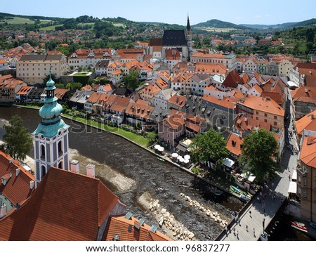 View of Cesky Krumlov, St. Jost Church and St. Vitus cathedral, Czech Republic