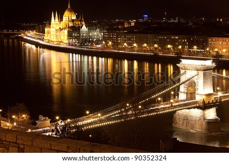 View of Chain Bridge and Hungarian Parliament