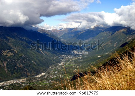 View of Chamonix Village, French Alps, France