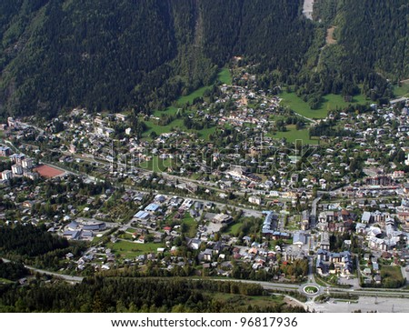 View of Chamonix Village from Aiguille de Midi Cable Car, French Alps, France