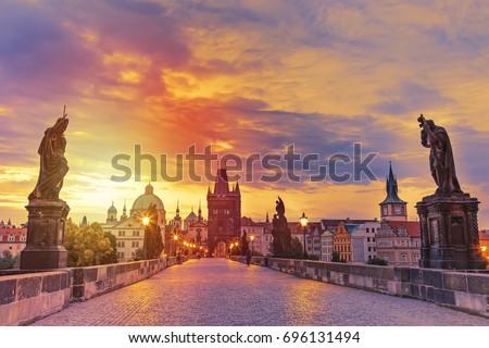 View of Charles Bridge in Prague during sunset, Czech Republic. The world famous Prague landmark. Stock photo ©