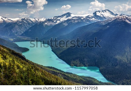 View of Cheakamus Lake from the High Note trail on Whistler Mountain